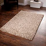 "Shaggy Rug Beige 963 Plain 5cm Thick Soft Pile 120cm x 170cm (4ft x 5ft 6"") Modern 100% Berclon Twist Fibre Non-Shed Polyproylene Heat Set - AVAILABLE IN 6 SIZES by Quality Linen and Towels"
