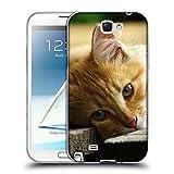Just Phone Cases Schutz Hülle TPU Case Schutzhülle Silikon Tasche Dünn Transparent // V00004287 Katze liegend auf Holzbrettern // Samsung Galaxy Note 2 II N7100