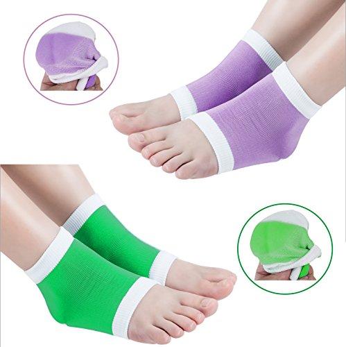 2 Paar Feuchtigkeitsspendende Silikon-Gel-Ferse-Socken für Trockene Harte Rissige Haut Feuchtigkeitsspendende Offene Zehe Comfy Erholung Socken