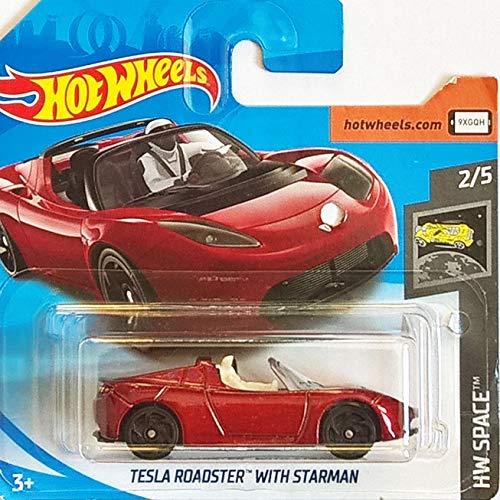 Hot Wheels* Tesla Roadster mit Starmann - Tesla Cabrio - 1:64 - Farbe: Bordeaux metallic (HW-Serie 2/5 Space 2019)