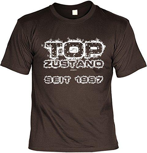 Lustige Sprüche Fun Tshirt TOP Zustand seit 1987 - Geburtstag tshirt Braun