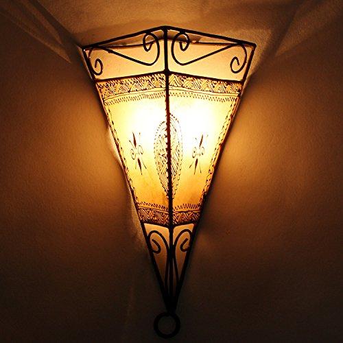 Natur-eisen-wandleuchte (Orientalische Wandlampe marokkanische Wandleuchte Emrah Natur   Schöne Henna-Lampe Größe H34 x B23 x T17 cm   Lampen-Gestell aus Eisen   Lampenschirm aus Leder   Kunsthandwerk aus Marrakesch   L1060)