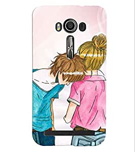 Fuson Love Couple Back Case Cover for ASUS ZENFONE 2 LASER ZE500KL - D4031