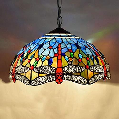 Tiffany Style Vintage Buntglas Dunkelblaue Libelle Pendellampen, E27 Moderne Eisenkette Light-Halterung Pendel Lampe 16 Zoll Wohnzimmer Dining-Bar Gang Korridor Balkon Deckenleuchte, 40Cm