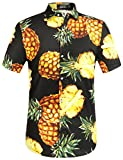 SSLR Herren Hawaiihemd Kurzarm Baumwolle Hemd Ananas gedruckt Aloha Shirt für Strand Freizeit Reise (3X-Large, Schwarz)