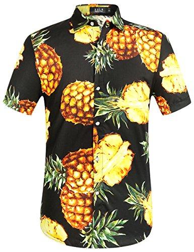 SSLR Herren Ananas Button Down Hawaii Style Kurzarm Freizeit Hemd (Large, Schwarz) (Frühjahr Kurzarm)