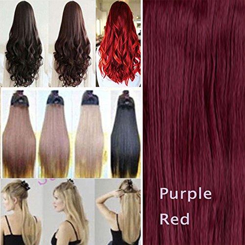 Haarteil/Extensions, mit 5 Clips, 66cm, glatt, Rot / Violett (Lila Clip In Hair Extensions)