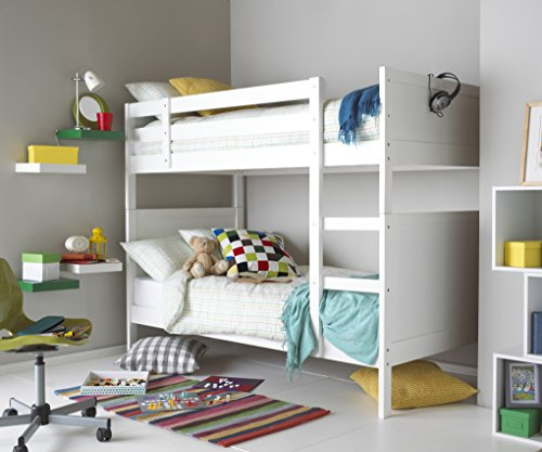 Hyder Living Oliver Bunk Bed Plus Upgraded Mattress, Wood, White