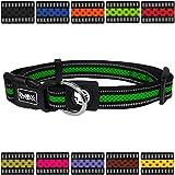 DDOXX Hundehalsband reflektierend Air Mesh | für große & Kleine Hunde | Katzenhalsband | Halsband | Halsbänder | Hundehalsbänder | Hund Katze Katzen Welpe Welpen | klein breit bunt | Grün, M
