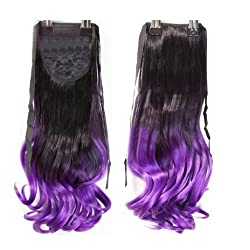 SODIAL(R) Ombre Ponytail Clip in Hair Tail Colored Curly Body Wave Hair Extensions Highlight Weft black+purple