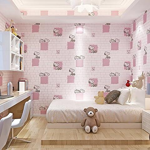 sbwylt-cute cameretta bambini Snoopy mattoni in tessuto non tessuto Sfondi salotto camera da letto sala da pranzo sfondo, C, 10 meters *0.53 meters