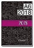 Chäff-Timer mini A6 Kalender 2018 [Black Flower] 12 Monate Jan-Dez 2018 - Terminkalender mit Wochenplaner - Organizer - Wochenkalender