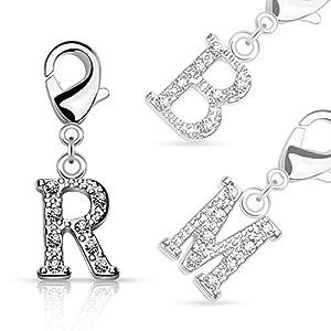 Bungsa® Buchstaben ANHÄNGER Silber mit Kristall – kleine Buchstaben Charms für Bettel-Armband, Halskette oder Ohrringe – für Damen, Kinder & Herren – A B C D E F G H I J K L M N O P R S T U V W Z