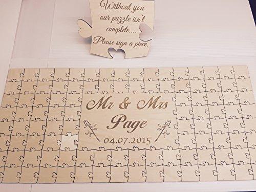 Gästebuch für die Hochzeit, personalisierbar, Holz puzzle Geburtstag, Hochzeitstag, holz, 56 Pieces 400x300mm (16