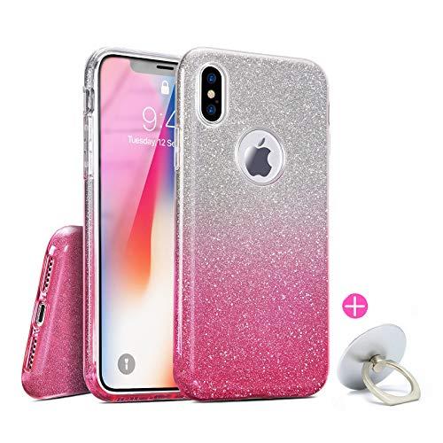 iPhone X XS 10 Hülle Glitzer Glitter Case Silikon mit Fingerhalterung Pink