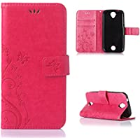 Acer Liquid Z330 Pelle Custodia, Casefashion Pure Embossing Series Premium PU Leather Case Flip Stand Wallet Card Slots Cover [Flower Butterfly Modello] per Acer Liquid Z330 - Rosso