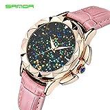 sportuhr Sanda Reloj de Mujer Starry Lleno de Diamantes Reloj de Cuarzo Reloj de Correa de Moda Creativa