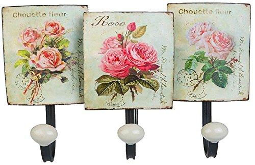 Vintage Retro Kleiderhaken Blechschild Wanddeko Nostalgie Garderobenhaken Metallschild Blumen Rosen