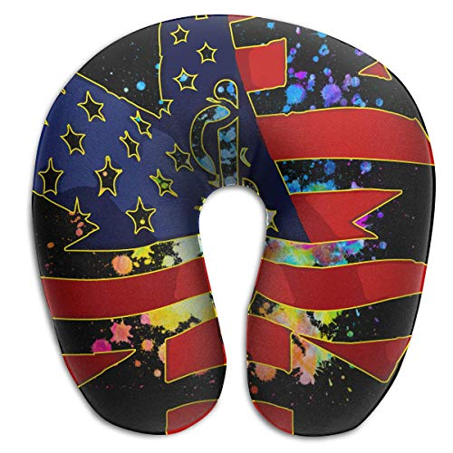 Nifdhkw EMT US Flag Memory Foam Travel Pillow - The Best Neck Pillow with 360 Head & Neck Support -