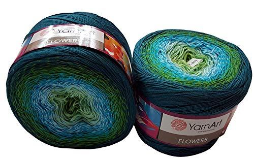 YarnArt Flowers 500 Gramm Bobbel Wolle Farbverlauf, 55% Baumwolle, Bobble Strickwolle Mehrfarbig (grün türkis weiß 256 b)