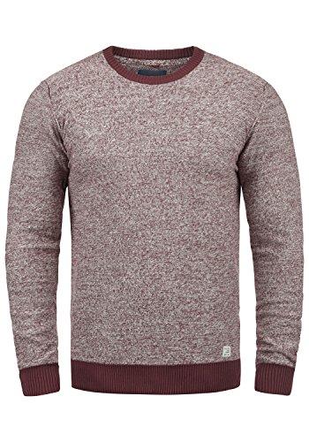 Blend Nathan Herren Strickpullover Feinstrick Pullover Mit Rundhals Und Melierung Aus 100% Baumwolle, Größe:M, Farbe:Wine Red (73812)