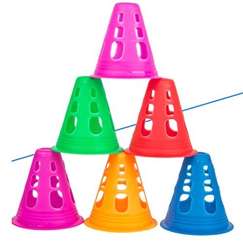 VORCOOL 10Pcs Multi-purpose Plastic Cone for Soccer Roller Skating Physical Sports Training  Random Color
