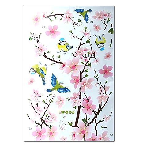 Pfirsich Blume und Voegel Romantisches Wandaufkleber Wandtattoos Türaufkleber für Wohnzimmer