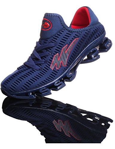 PORTANT Schuhe Herren Angebote Sneaker Dämpfung Laufschuhe Atmungsaktive Mesh Joggingschuhe Bequem Gym Fitness Sneakers Sportschuhe für Männer Tägliche Abnutzung Blau Rot 42
