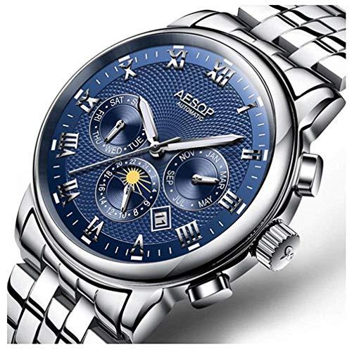 Reloj para Hombres Reloj mecánico automático con Esfera Azul Reloj de Pulsera de Acero Inoxidable...