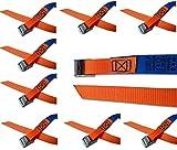 iapyx® Befestigungsriemen-Set ideal zur Befestigung am Fahrradträger, Klemschloss Gurte, Spanngurte (10er Set, orange)