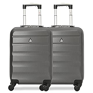 Aerolite Set of 2 Lightweight ABS Hard Shell Trolley Carry On Hand Cabin Luggage Suitcase with 4 Wheels, Approved for easyJet, British Airways, Jet2, Virgin Atlantic, Delta, American Airlines & More
