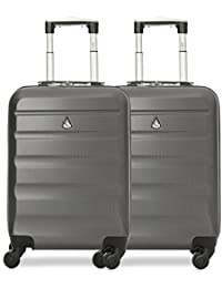 Aerolite Lightweight ABS Hard Shell Trolley Travel Luggage Suitcase with 4 Wheels, Charcoal
