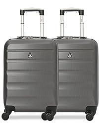 b90120bae Aerolite ABS Trolley Bagaglio a Mano Valigia Rigida Leggera con 4 Ruote,  Approvata per Ryanair, Easyjet, Alitalia,…