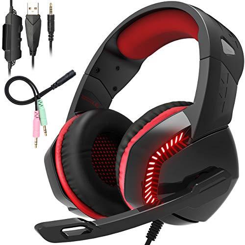 Gaming Headset, TedGem Gaming Headset PS4, Gaming Headset PC Xbox One Kopfhörer mit Noise Cancelling Mikrofon, LED-Licht, Bass Surround Sound, Kopfhörer für PC Laptop Tablet Mac Smartphone (Cancelling-pc-mikrofon Noise)