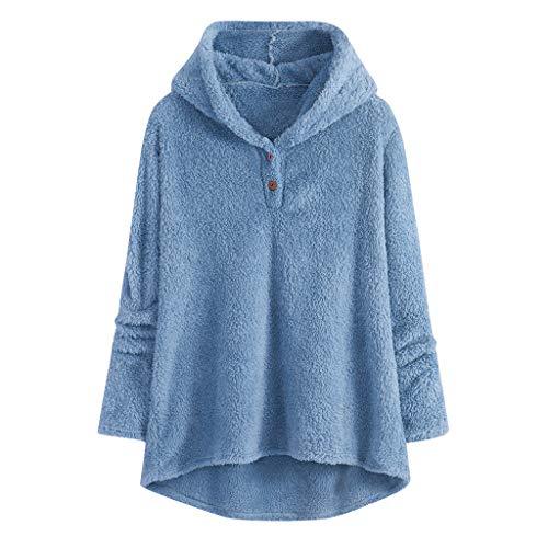 GreatestPAK Plüsch Kapuzenpullover Damen Hoodie Winter Revers Jacken Warm Mäntel Knöpfe Tops Übergröße,Blau,2XL (Büste:112cm) -