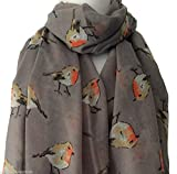 Grey Robin Print scarf, ladies birds wrap, Large Bird Shawl, Red Robins