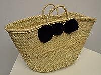 Moroccan Black Pom Pom Market Shopping Basket natural rope Handles - W50 D20 H32 - SUMMER OFFER -