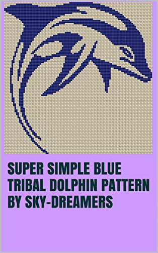Super Simple Blue Tribal Dolphin Pattern by Sky-Dreamers (English Edition) - Sky Blue Dolphins