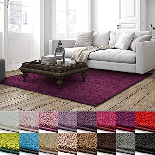 lona | weicher Hochflor Teppich für Wohnzimmer, Schlafzimmer, Kinderzimmer | GUT-Siegel + Blauer Engel | Verschiedene Farben & Größen | 100x150 cm | Berry ()