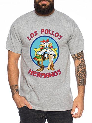 Los Pollos Herren T-Shirt Hermanos Bad Heisenberg Breaking, Farbe:Dunkelgrau Meliert;Größe:4XL