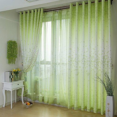 IYT Grünes Blatt Voile Vorhang,Voile Tüll-Raum-fenstervorhang Schiere Voile Panel-Vorhang-grün 350x270cm(138x106inch) -