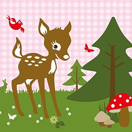 anna wand Bordüre selbstklebend REHNATE & FRIENDS ROSA - Wandbordüre Kinderzimmer mit Reh & Waldtieren in versch. Farben - Wandtattoo Schlafzimmer Mädchen & Junge Wanddeko Baby / Kinder