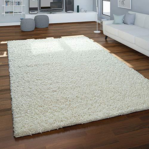 Paco Home Hochflor-Teppich, Shaggy Für Wohnzimmer, Weich Flauschig Strapazierfähig Robust, Grösse:140x200 cm, Farbe:Creme