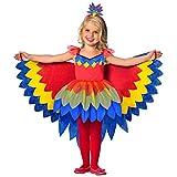 amscan 9903518 Kinderkostüm Papageien Fee, Mädchen, Mehrfarbig, 116 cm