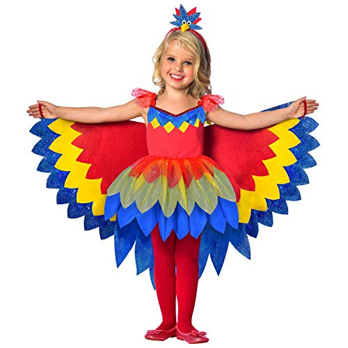amscan 9903518 Kinderkostüm Papageien Fee, Mädchen, Mehrfarbig, 116 cm -