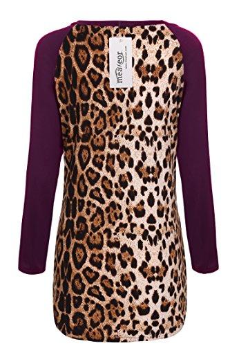 Meaneor Femmes T-shirt Manche Longue Col Roulé Sous Pull Femme Slim Basic Poche En Tissu Epais à Motif Imprimé Rouge vineux