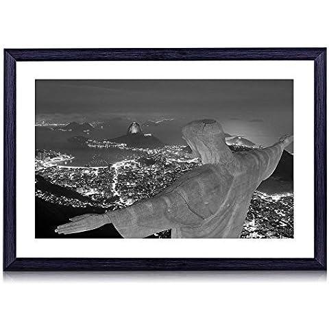 Cristo Redentore, Brasile–stampa artistica da parete con cornice portafoto in legno nero 40,6x 30,5cm, Nero