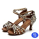 WXMDDN Womens Latin Dance Shoes Leopard Print Color Dance Shoes 7cm High-Heeled Shoes In The Dance, Soft Bottom Of In-House Of Dance Shoe,E41
