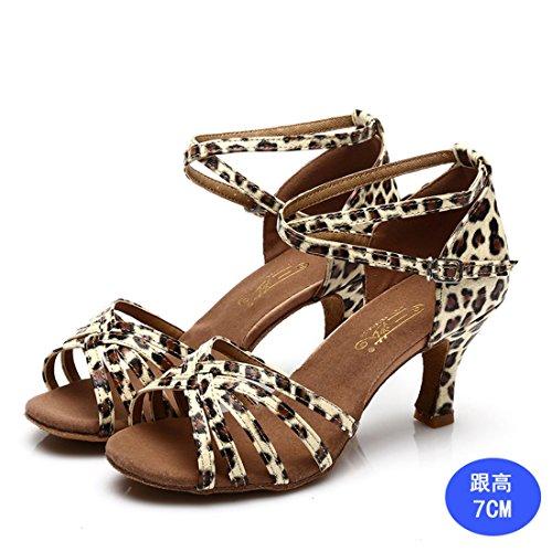 WXMDDN donne di Latino del scarpe da ballo leopard stampa colore scarpe da ballo 7cm scarpe con i tacchi alti in ballo, morbido fondo di in-house di Scarpa danza Leopard 7cm