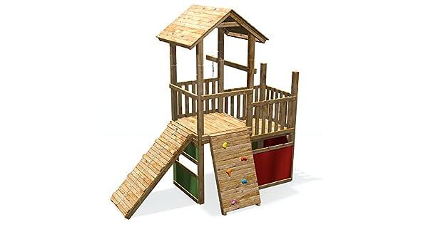 Klettergerüst Holz Streichen : Spielturm mit spielhaus kletterwand rampe & kletterseil